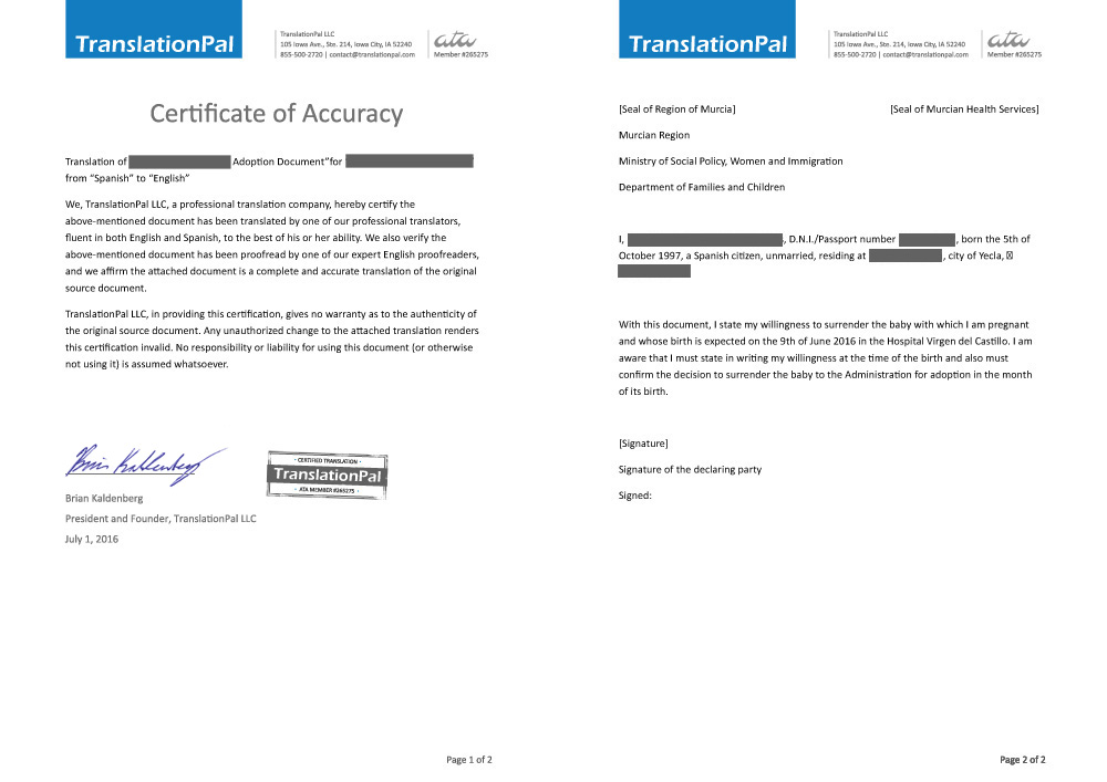 adoption de traduction de documents