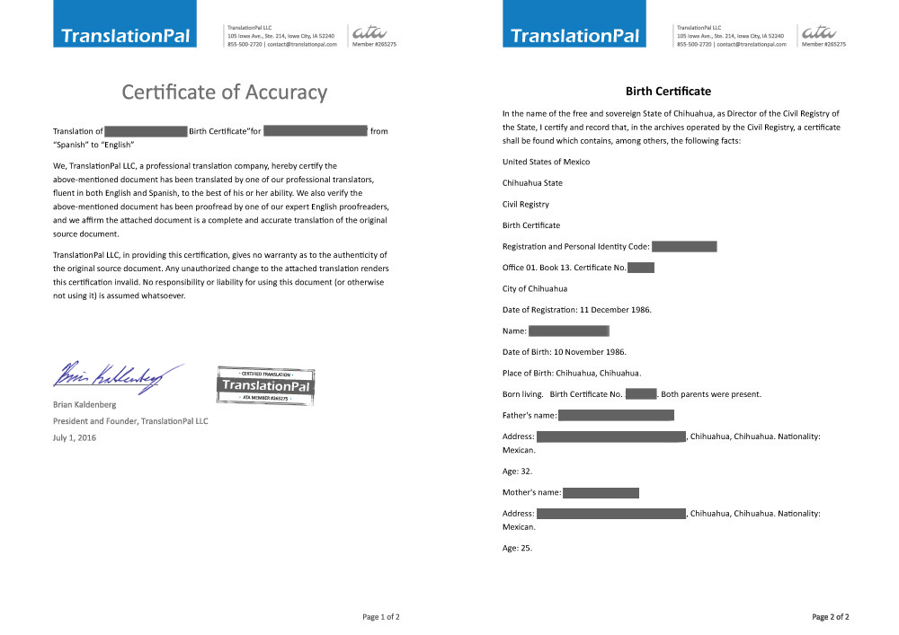 German To English Birth Certificate Translation Translationpal